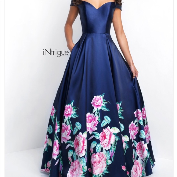 intrigue Dresses | Navy Blue Ball Gown Elegant Evening Gown | Poshmark
